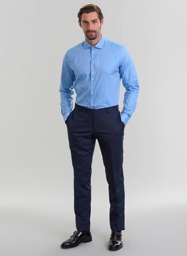 People By Fabrika Oxford Desenli Gömlek Mavi